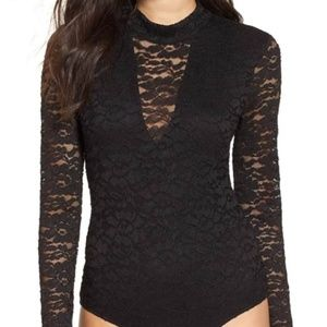ASTR The Label Mock Neck Lace Body Suit XS NWT